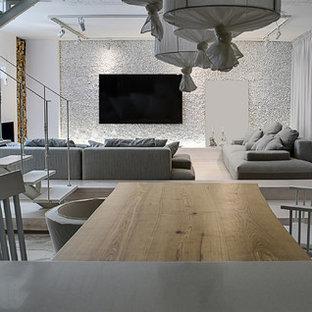 Ispirazione per un soggiorno rustico di medie dimensioni e stile loft con angolo bar, pareti bianche, pavimento in marmo, parete attrezzata e pavimento bianco
