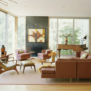 Living room - rustic light wood floor living room idea in New York with a music area