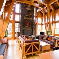Rustic Living Room by DeJong Design Associates Ltd.