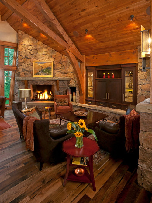 Example Of A Large Mountain Style Open Concept Living Room Design In Other With Beige Walls