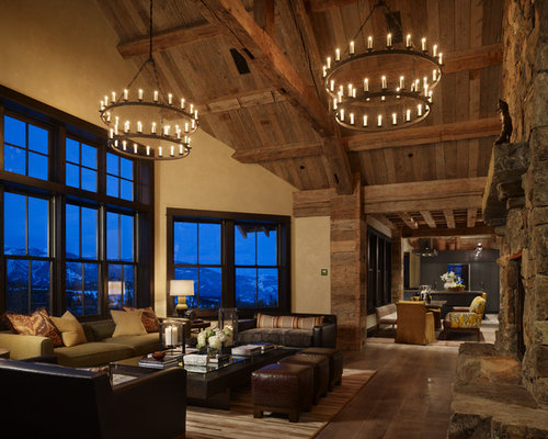 example of a mountain style living room design in denver - Paul Ferrante Chandelier