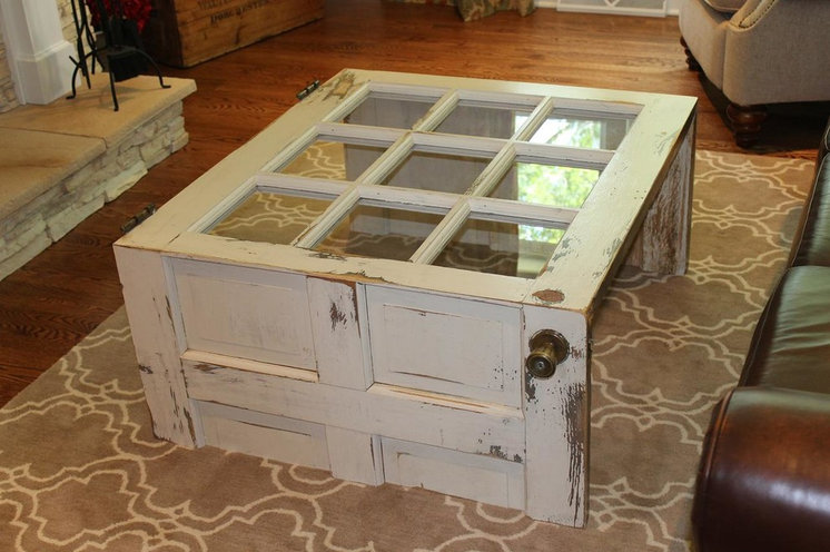 Rustic Living Room Salvaged Door into Coffee Table