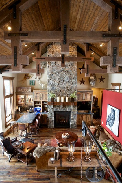 Rustic Living Room by Pinetop Custom Homes