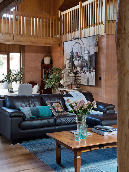Inspiration For A Country Open Concept Living Room In Perth With Brown  Walls And Light Hardwood