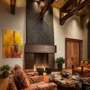 フェニックスのサンタフェスタイルのおしゃれな独立型リビング (フォーマル、白い壁、標準型暖炉、金属の暖炉まわり) の写真