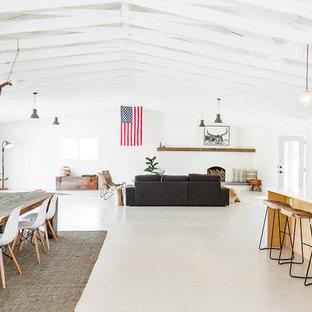 サンディエゴの中サイズのサンタフェスタイルのおしゃれなLDK (白い壁、コンクリートの床、標準型暖炉、コンクリートの暖炉まわり) の写真
