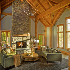 Rustic Living Room by Peregrine Design Build