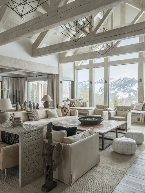 Good Mountain Style Formal And Open Concept Light Wood Floor And Gray Floor Living  Room Photo In