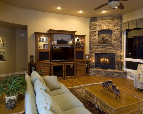 Living Room Design Ideas Renovations Photos With A Corner Fireplace And A Built In Media Unit
