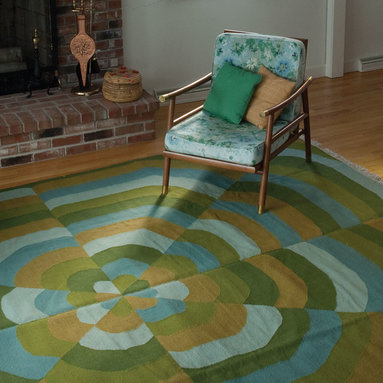 Ruthie Living Room - This kaleidoscope-like pattern invokes a modern, home-spun, upbeat vibe. angela adams hand-woven wool rugs are created using a flat weave construction with uniform texture making for a versatile floor covering when a flat rug is needed. Made of 100% New Zealand wool.