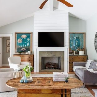 Living room - coastal light wood floor living room idea in Jacksonville with gray walls, a standard fireplace and a wall-mounted tv