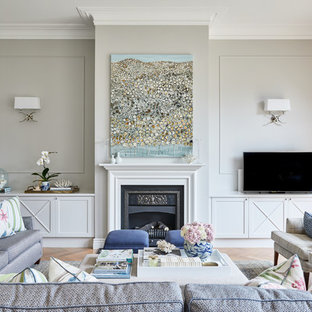 Inspiration For A Mid Sized Traditional Formal Living Room In Melbourne  With Grey Walls,