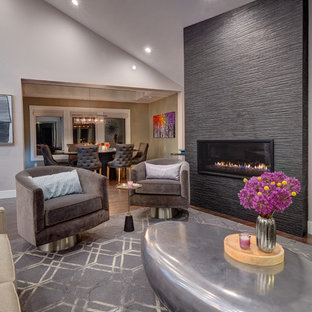 Esempio di un soggiorno design di medie dimensioni con pavimento in legno massello medio, sala formale, pareti grigie e camino lineare Ribbon