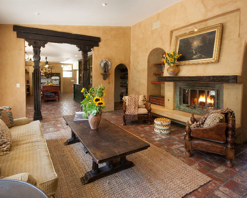 High Quality Example Of A Tuscan Brick Floor Family Room Design In Santa Barbara