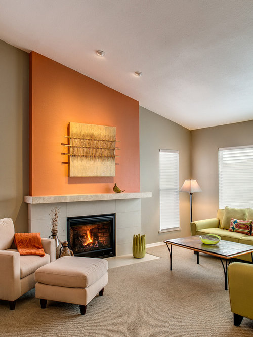 Example Of A Transitional Carpeted And Beige Floor Living Room Design In  Phoenix With Orange Walls