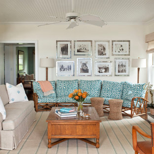 Coastal Dark Wood Floor And Brown Living Room Photo In New York With Beige Walls
