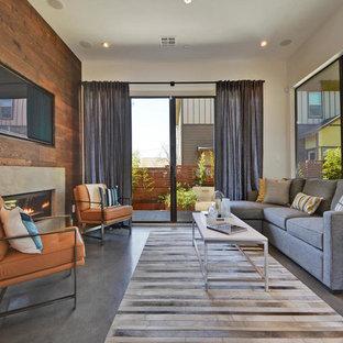 オースティンの大きいコンテンポラリースタイルのおしゃれなLDK (フォーマル、ベージュの壁、コンクリートの床、横長型暖炉、壁掛け型テレビ、石材の暖炉まわり) の写真