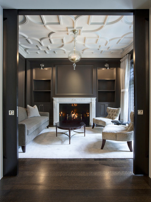 Elegant Formal Enclosed Living Room Photo In Chicago With Gray Walls Dark Wood Floors And