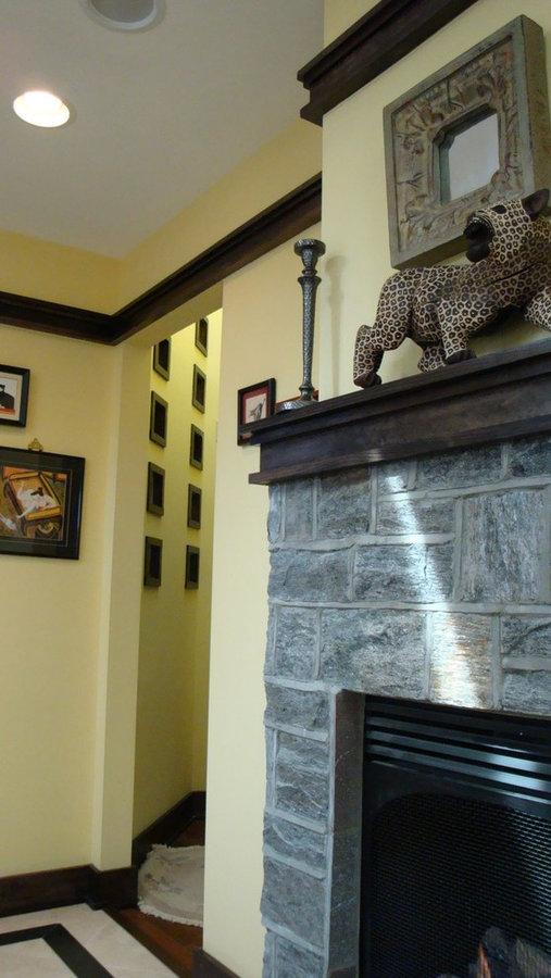 Salon with Custom Stone Fireplace