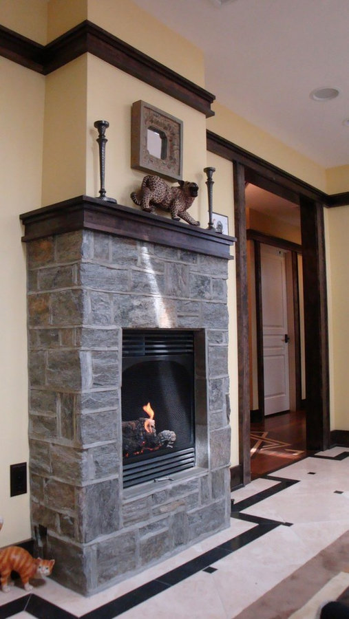 Salon with Custom Stone Fireplace