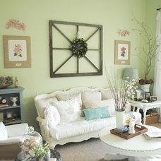 Traditional Living Room Salvage window art