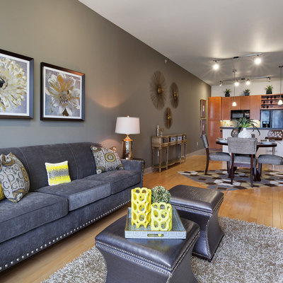 Trendy living room photo in Houston with gray walls