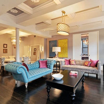 Example of a classic living room design in Chicago with gray walls