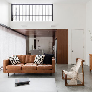 Contemporary open concept living room in Sydney with white walls and concrete floors.