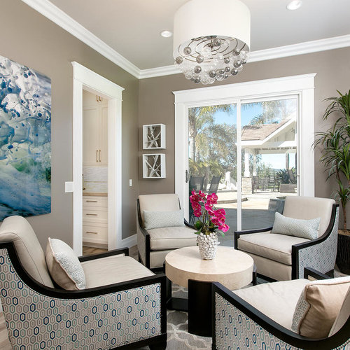 Example Of A Mid Sized Transitional Formal And Open Concept Porcelain Floor  And Gray Floor