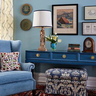 Mid-sized eclectic enclosed living room photo in San Francisco with blue walls