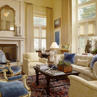 Design ideas for a large traditional living room in San Francisco with beige walls and no tv.
