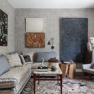 Idéer för vintage vardagsrum, med grå väggar