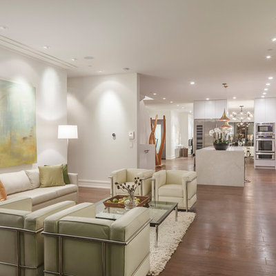Example of a large trendy formal and open concept dark wood floor and brown floor living room design in San Francisco with white walls, no fireplace and no tv