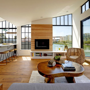 Inspiration for a beach style open concept medium tone wood floor living room remodel in San Francisco with a ribbon fireplace
