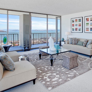 Example of a large trendy living room design in San Francisco with white walls