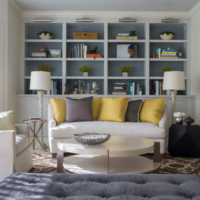 Example of a transitional formal and enclosed living room design in San Francisco with no tv