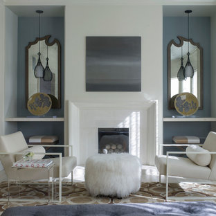 Living room - transitional formal and enclosed light wood floor living room idea in San Francisco with blue walls, a standard fireplace, a tile fireplace and no tv