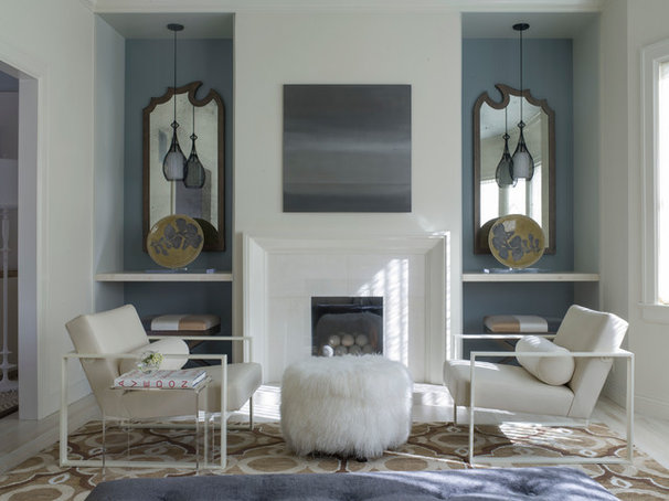 Transitional Living Room by Angela Free Design