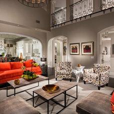 Mediterranean Living Room by Jennifer Bevan Interiors