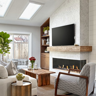 Example Of A Coastal Gray Floor Living Room Design In San Francisco With White Walls