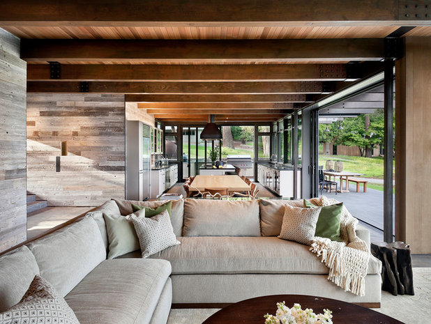 Rustic Living Room by NB Design Group, Inc