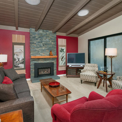 Asian carpeted living room photo in San Francisco with red walls, a standard fireplace, a stone fireplace and a tv stand