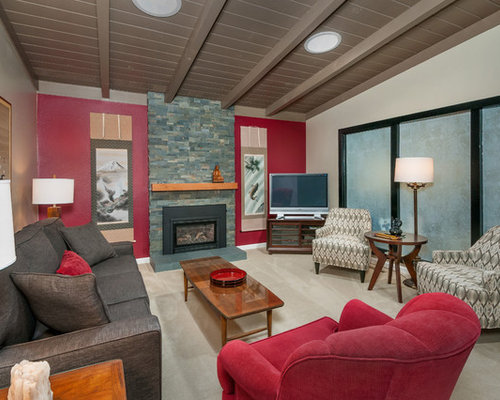 Asian Carpeted Living Room Photo In San Francisco With Red Walls, A  Standard Fireplace,