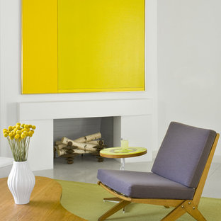 Immagine di un soggiorno moderno di medie dimensioni e chiuso con pareti bianche, camino classico, cornice del camino in intonaco, sala formale, pavimento con piastrelle in ceramica e nessuna TV