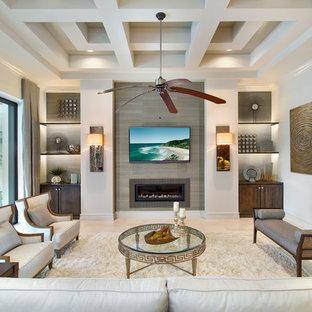 Esempio di un soggiorno classico chiuso con sala formale, pareti bianche, camino lineare Ribbon, cornice del camino piastrellata e TV a parete