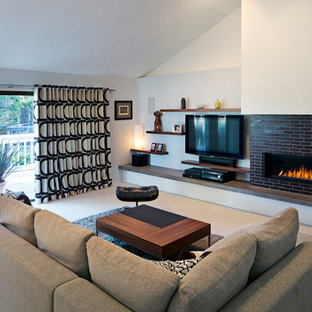 Example of a minimalist living room design in San Francisco with white walls and a ribbon fireplace