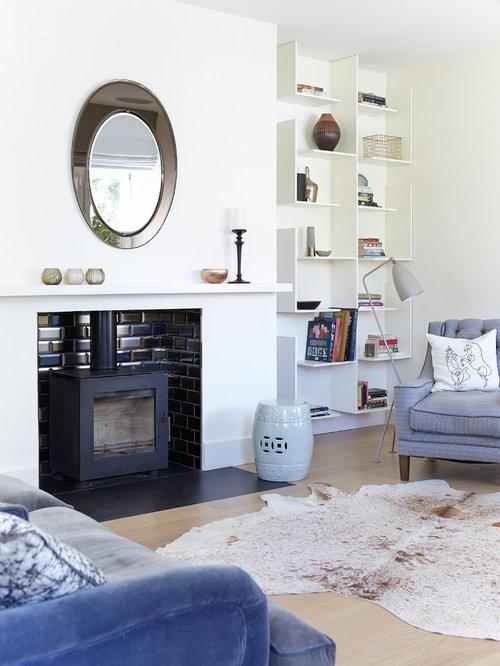 Salon blanc avec un po le bois photos et id es d co de - Salon avec poele a bois ...