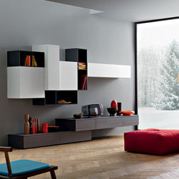 Sangiacomo - A base unit in grey oak veneer provides the perfect surface for resting a tv and storing electronics. The upper wall mounted cabinets are shown in bianco 10 ash effect melamine and matt antracite lacquer, with the options of having doors to hide clutter. Open shelving is ideal for displaying prized possessions.