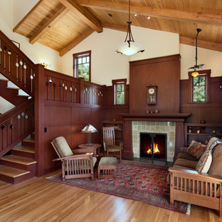 Inspiration for a mid-sized arts and crafts enclosed living room in Santa Barbara with a tile fireplace surround, white walls, medium hardwood floors and a standard fireplace.