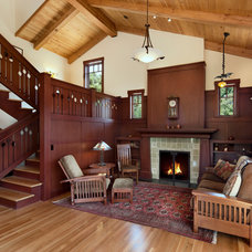 Craftsman Living Room by Thompson Naylor Architects Inc